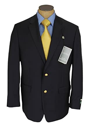 Ralph Lauren Mens Single Breasted 2 Button Navy Blue Wool Blazer Sport Coat Jacket - Size 56L