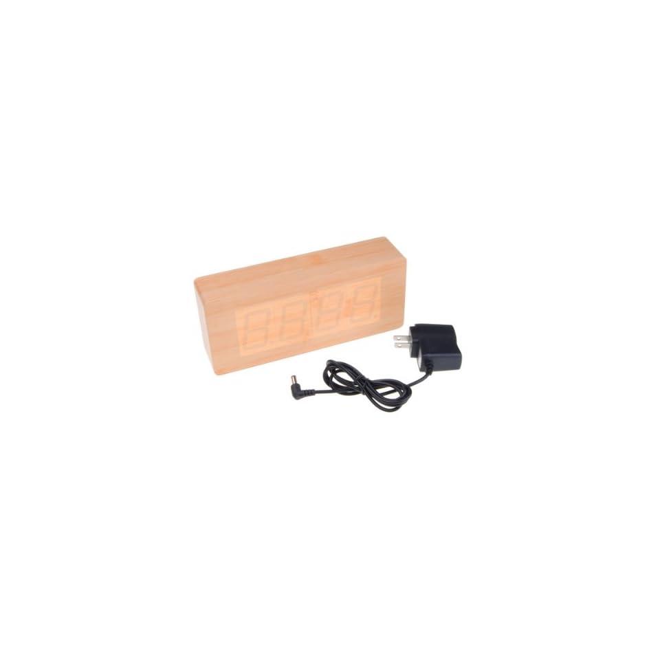 Wood Green LED Digital Desk Alarm Clock Thermometer Electronics