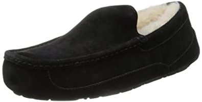 UGG Australia Men's Ascot Leather Slippers, 7, Black Leather