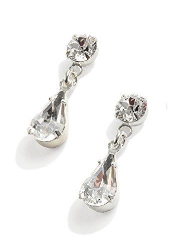 Lj Designs Diamante Tear Drop Earrings (E15) - Swarovski Crystal - Silver Finish - Clip On Earrings - Ladies Gifts