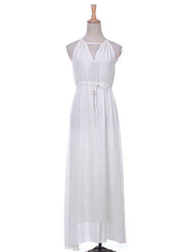 Anna-Kaci S/M Fit White Greek Goddess Inspired Long Maxi Beach Toga Dress