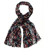 M&S Collection Lightweight Owl & Paisley Print Scarf