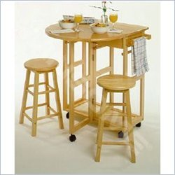 Winsome Basics Mobile Breakfast Bar,Table Set with 2 Stools in Natural (B004GIGSGC)