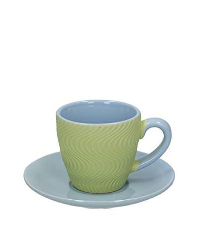 Tognana Kaffeetasse mit Untertasse 6er Set Relief Cool Verde grün