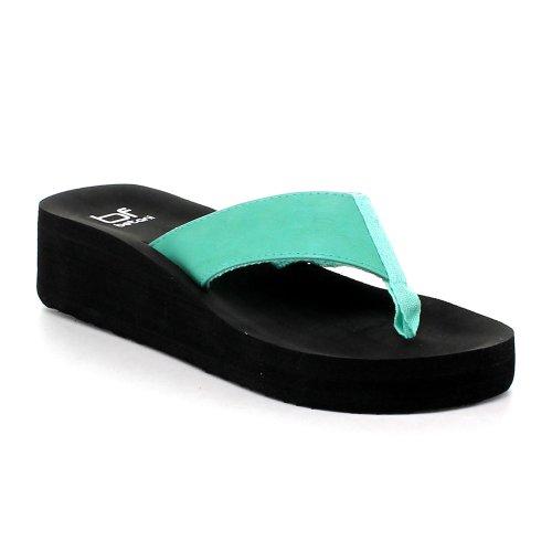 Betani Eva-3 Women'S Foam Wedge Platform Flip Flops Thong Beach Sandals, Color:Mint, Size:6