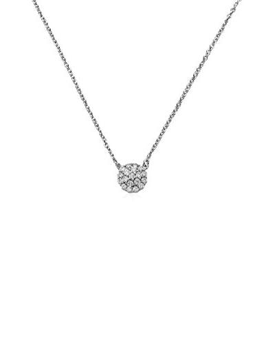 Riccova Retro CZ Pavé Circle Layering Necklace, Silver