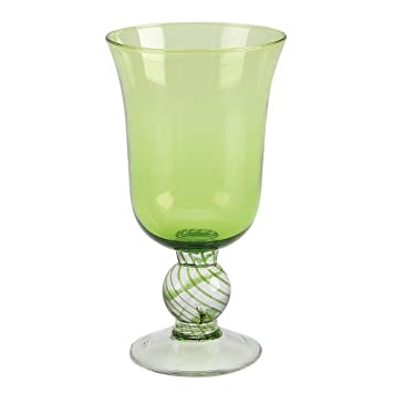 portofino water goblet green glass collection set of 6