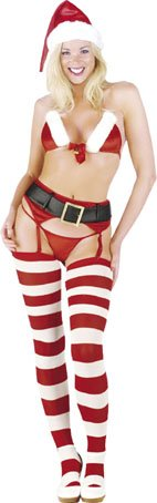 Miss Claus Bra And Thong Set Size M
