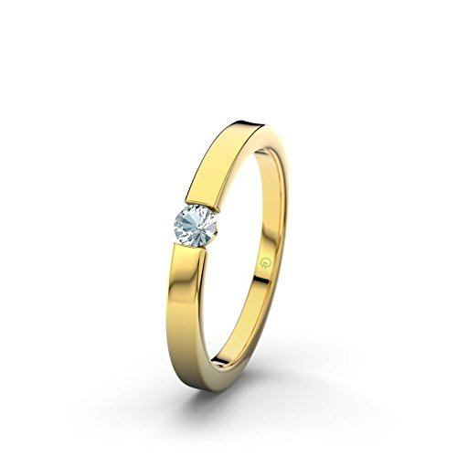 21DIAMONDS Triest Women's Ring Engagement Ring Aquamarine 14 carat (585) Yellow Gold Brilliant Cut Engagement Ring