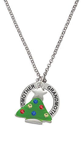 Green Resin Christmas Tree With Crystals - Grandmother Affirmation Necklace