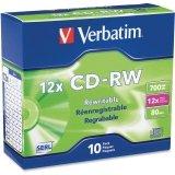 Disc CD-R/W 80 min branded 10pk Slimline 4X-12X 700MB high speed