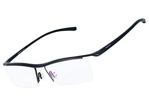 Agstum Pure Titanium Half Rimless Business Glasses Frame Optical Eyeglasses Clear Lens (Gunmetal) (Spectacles Frame compare prices)