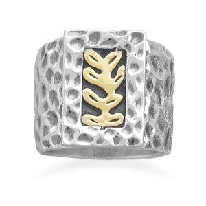 Sterling Silver Fern Design Ring / Size 9