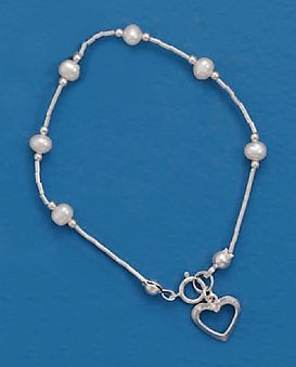 4mm Cultured Pearl Sterling Liquid Silver Bead Bracelet, 6 inch, Child-Size, 3/8 in Cut Out Heart