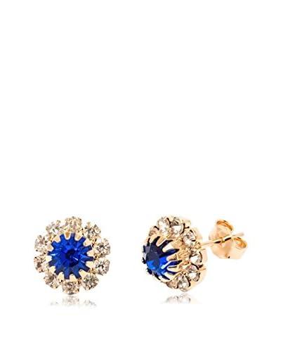 Sevil 18K Gold-Plated Royal Blue Swarovski Elements Flower Stud Earrings