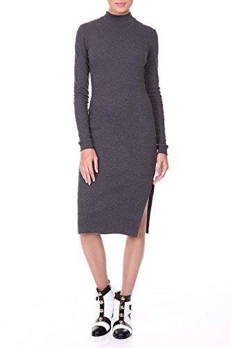 Knit signore vestito grigio - RED Isabel - abito stretch con collo alto e spacco laterale, aderente, Modello: Gistel, grigio, IT 42