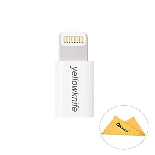 Yellowknifeiphone5/5c/5S/Iphone6/6plus/ipad/ipod対応アダプタMFI認証( Made for iPhone取得 )のlightning充電アダプター(8pin)  Micro USBからiphone5へ変換コネクタ+OAproda拭き布 (Whiteホワイト)