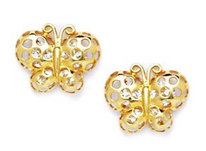 14ct Yellow Gold CZ Butterfly Screwback Earrings - Measures 9x10mm
