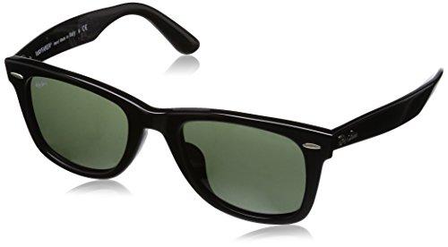 Ray Ban RB2140F Original Wayfarer Sunglasses-901 Black (Crystal Green Lens)-52mm