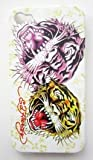 Textured White Two Face Tiger Design Ed Hardy Hard Case Back Cover For Iphone 4 4S