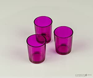Pink Glass Votive Candle Holders Set Of 12