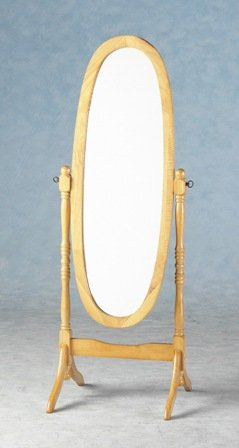Natural Wooden Full Length Cheval Mirror