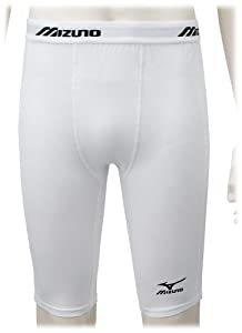 Mizuno Men's Sliding Compression Short G3 (White, Large)