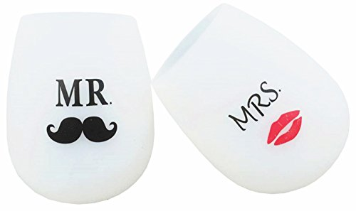 Hubitowis Mr. and Mrs. Unspillable Unbreakable Stemless Flat Bottom Recycled Silicone Wine Glasses-Funny Novelty Unique Gift for People You Love-set of 2