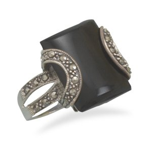 Sterling Silver Black Onyx and Marcasite Ring / Size 8