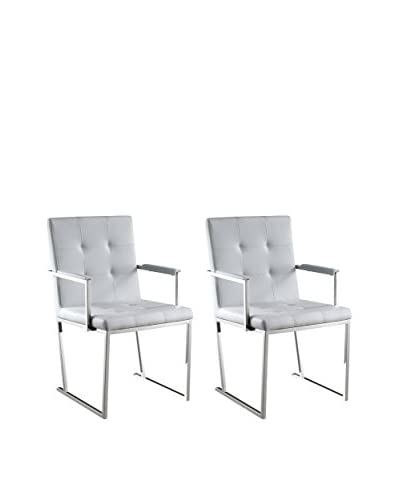 Whiteline Desi Set of 2 Modern Dining Armchairs