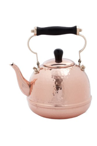 Old Dutch Solid Copper Hammered Teakettle with Wood Handle and Knob, 2-Quart