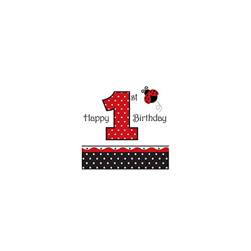 Ladybug Fancy Lunch Napkins, 3-Ply, 1st Birthday