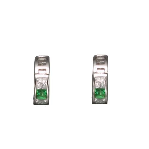 Arabella's 925 Sterling Silver Hughie Earrings Simulated Invisible Set Princess Cut Emerald & CZ Diamonds - Incl. ClassicDiamondHouse Free Gift Box & Cleaning Cloth