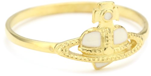 Vivienne Westwood Nano Off-White Heart Ring, Size 6