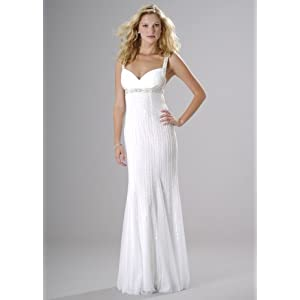 Formal Evening Gown. Beaded Dress for Prom, Party Dress by Sean Collection (50172) White