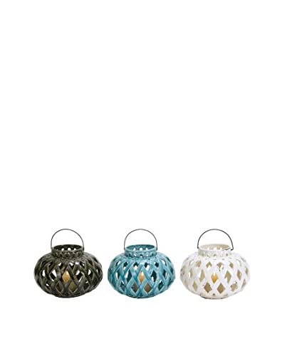 Set of 3 Assorted Ceramic Lanterns, Multi