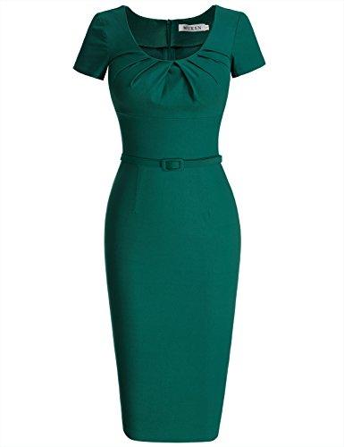 MUXXN 1950 Retro Girocollo Manica Corta Vestito dalla Matita(S, Deep Green)