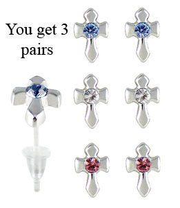Cross studs earrings - hypo allergic UPVC posts - white gold plated so looks like real - you get a set of 3 - easy to wear, suitable for everyday wear