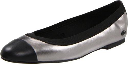 Lacoste Women's Constance 2 Flat,Dark Silver/Black,9 M US