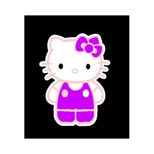 3 Color HELLO KITTY in OVERALLS Vinyl Sticker/Decal