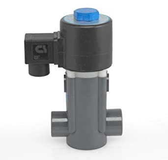 Plast-O-Matic EASYMT Series Polypropylene Solenoid Valve, For Corrosive and Ultra-Pure Liquids, 2 Ways, Normally Closed, Viton Diaphragm, NPT Female