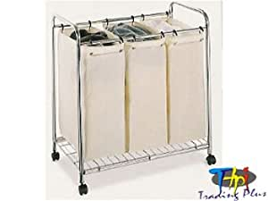 Canvas 3 Section Laundry Sorter Bag With