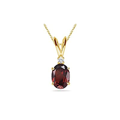 0.02 Cts Diamond & 1.08 Cts Garnet Pendant in 14K Yellow Gold