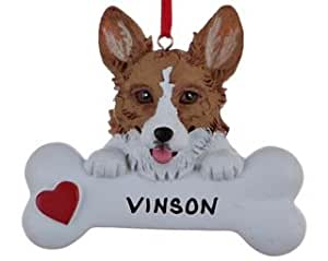 Personalized Corgi Dog Bone Christmas Ornament