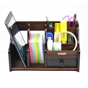Kloud City Dark Brown Wood Desk Desktop Organizer Sorter