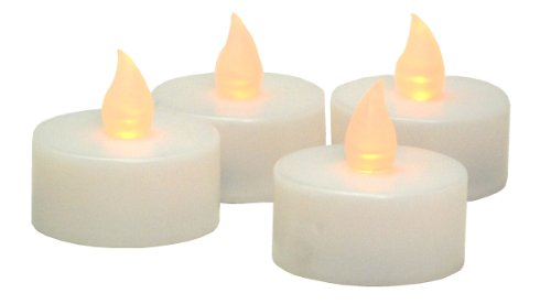 Kiera Grace LED Flameless Tealight Candle, White with Yellow Flame, 4-Pack