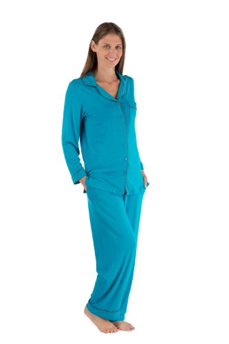 Womens Classic Pajamas Bamboo Jersey Warm As Flannel Pjs Wb0004-Cbz-S front-337852