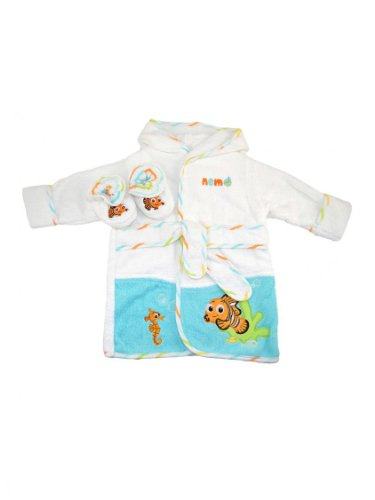 Unisex Baby / Infant Disney Nemo Woven Terry Robe And Bootie Set By Just Born - Multi-Colored - 0-9 Mths / Up To 18 Lbs front-711945