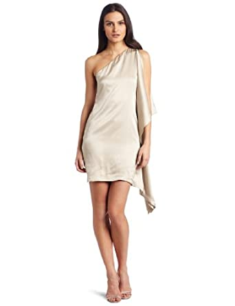 Robert Rodriguez Women's Asymmetrical Sleeve Slim Dress, Bisque, 6