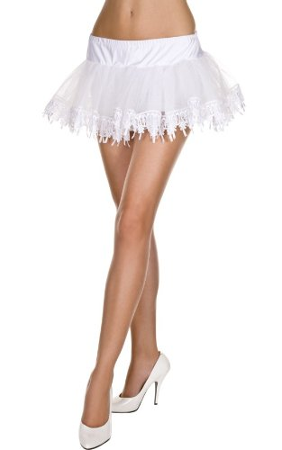 White Net with Tear Drop Lace Petticoat